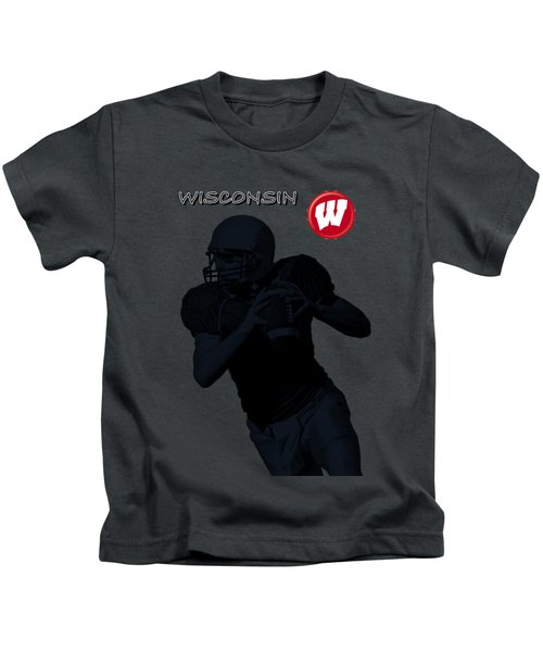 Wisconsin Football Kids T-Shirt by David Dehner