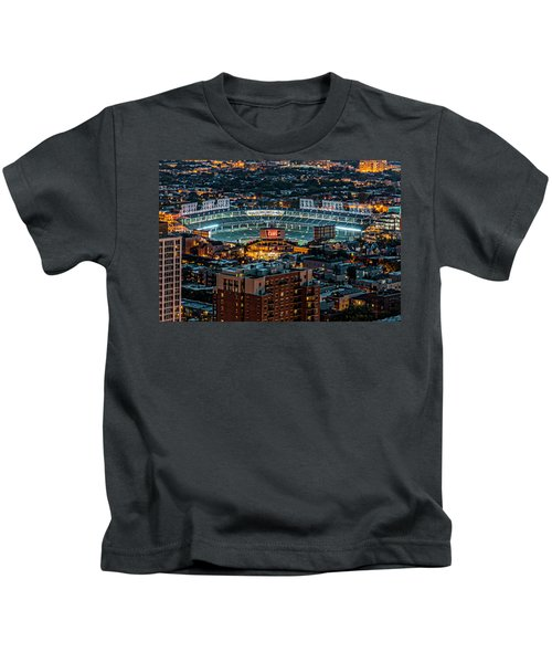 Wrigley Field From Park Place Towers Dsc4678 Kids T-Shirt by Raymond Kunst