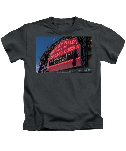 Wrigley Field Marquee Cubs National League Champs 2016 Kids T-Shirt by Steve Gadomski