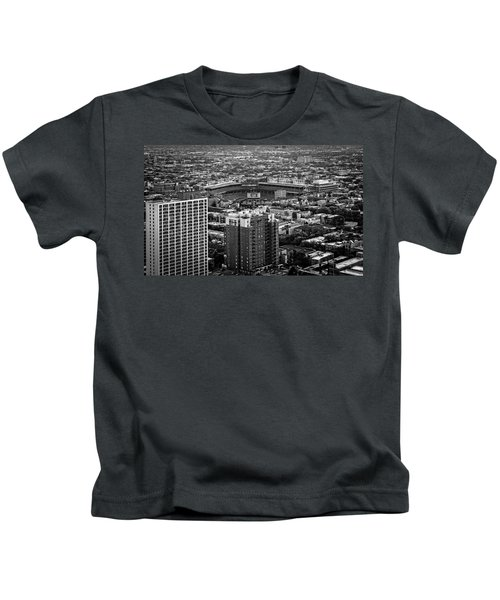 Wrigley Field Park Place Towers Day Bw Dsc4575 Kids T-Shirt by Raymond Kunst