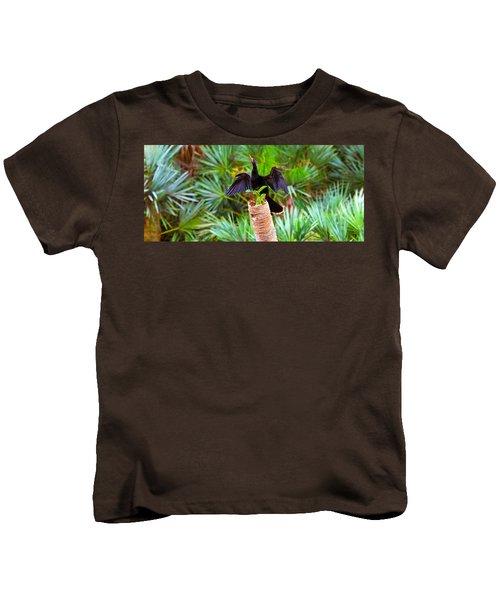 Anhinga Anhinga Anhinga On A Tree Kids T-Shirt by Panoramic Images