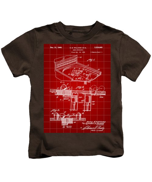 Pinball Machine Patent 1939 - Red Kids T-Shirt by Stephen Younts