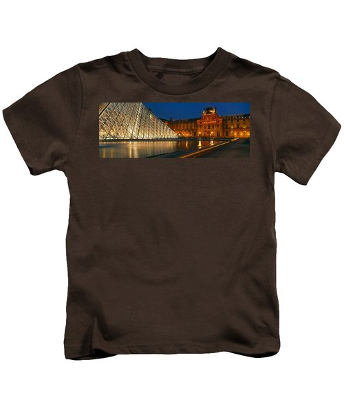Pyramid At A Museum, Louvre Pyramid Kids T-Shirt by Panoramic Images