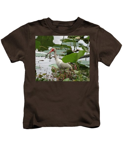 American White Ibis In Brazos Bend Kids T-Shirt by Dan Sproul