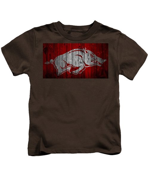 Arkansas Razorbacks Barn Door Kids T-Shirt by Dan Sproul