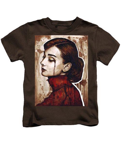 Audrey Hepburn Portrait Kids T-Shirt by Olga Shvartsur