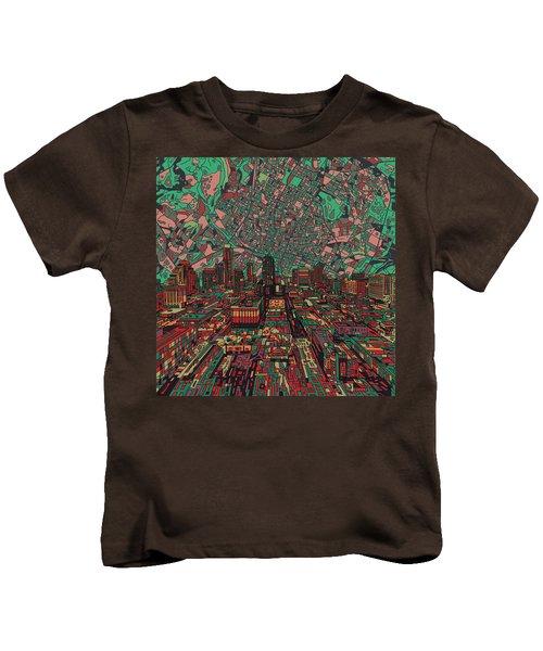Austin Texas Vintage Panorama 3 Kids T-Shirt by Bekim Art