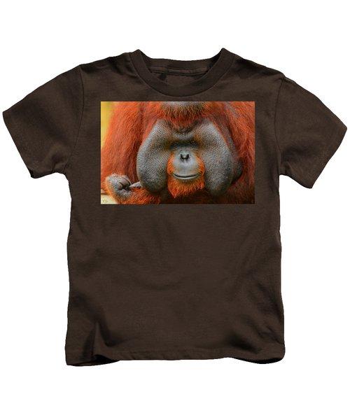 Bornean Orangutan Kids T-Shirt by Lourry Legarde