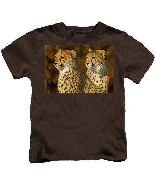 Cheetah Brothers Kids T-Shirt by David Stribbling