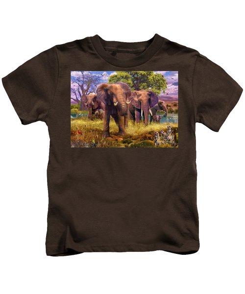 Elephants Kids T-Shirt by Jan Patrik Krasny