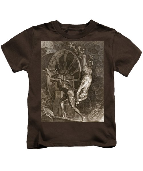 Ixion In Tartarus On The Wheel, 1731 Kids T-Shirt by Bernard Picart