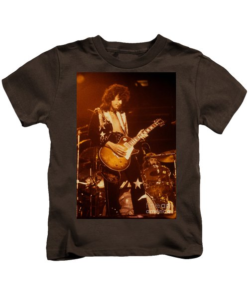Jimmy Page 1975 Kids T-Shirt by David Plastik
