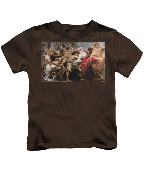 Lapiths And Centaurs Oil On Canvas Kids T-Shirt by Peter Paul Rubens