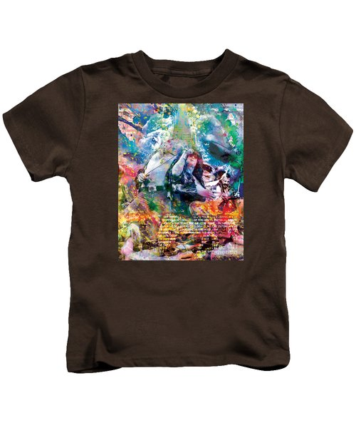 Led Zeppelin Original Painting Print  Kids T-Shirt by Ryan Rock Artist