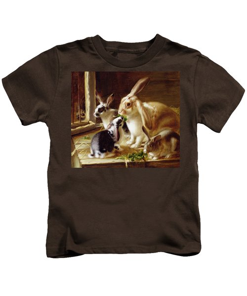 Long-eared Rabbits In A Cage Watched By A Cat Kids T-Shirt by Horatio Henry Couldery