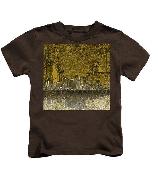 Los Angeles Skyline Abstract 4 Kids T-Shirt by Bekim Art
