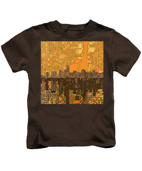 Miami Skyline Abstract 5 Kids T-Shirt by Bekim Art