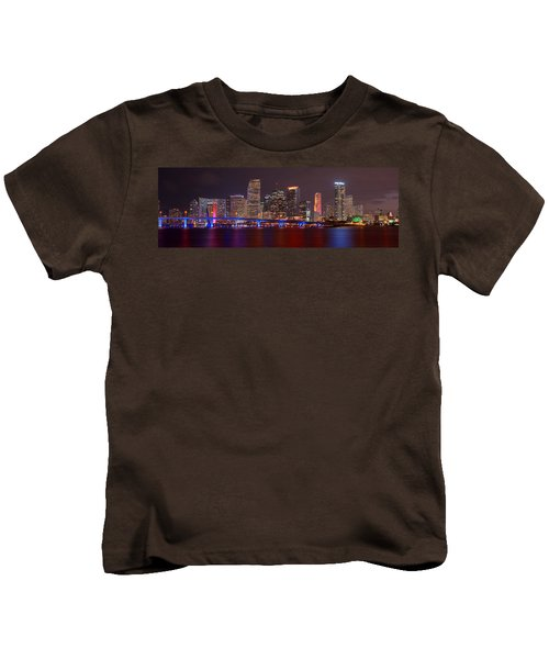 Miami Skyline At Night Panorama Color Kids T-Shirt by Jon Holiday