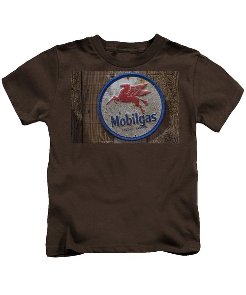 Mobil Gas Sign Kids T-Shirt by Garry Gay