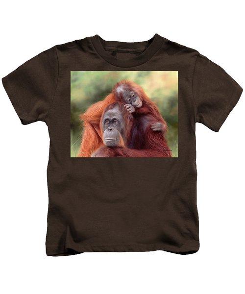 Orangutans Painting Kids T-Shirt by Rachel Stribbling