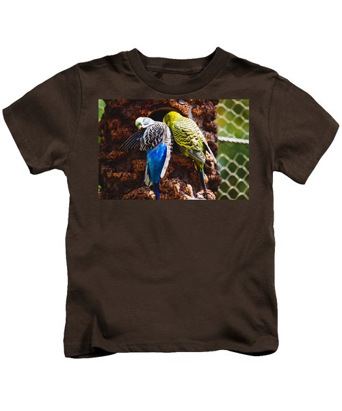 Parakeets Kids T-Shirt by Pati Photography
