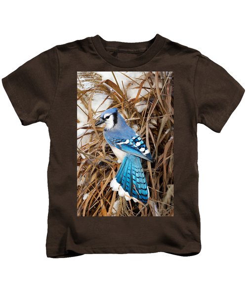 Portrait Of A Blue Jay Kids T-Shirt by Bill Wakeley