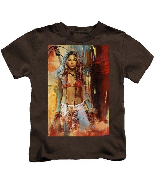 Shakira  Kids T-Shirt by Corporate Art Task Force