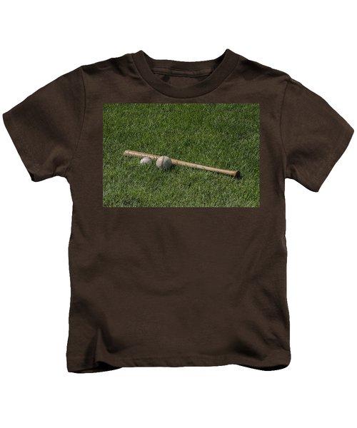 Softball Baseball And Bat Kids T-Shirt by Bill Cannon