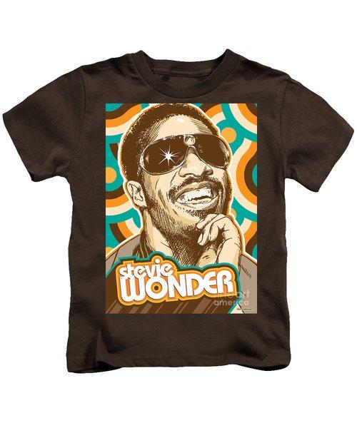 Stevie Wonder Pop Art Kids T-Shirt by Jim Zahniser