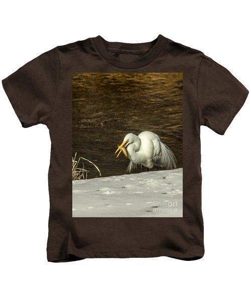 White Egret Snowy Bank Kids T-Shirt by Robert Frederick