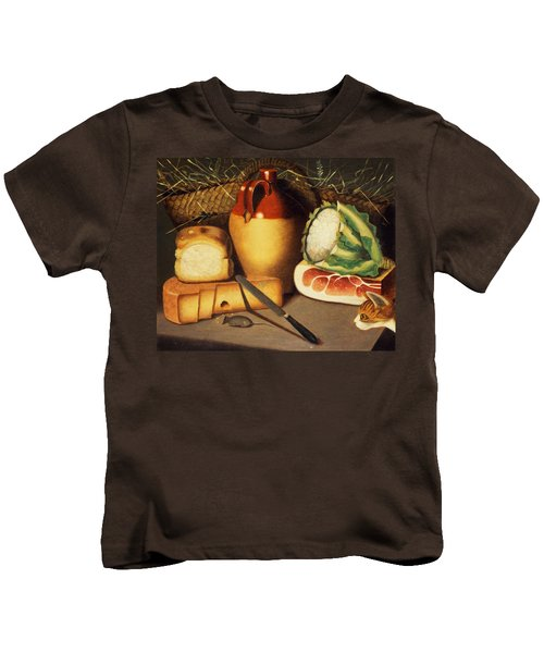 Cat Mouse Bacon And Cheese Kids T-Shirt by Anonymous