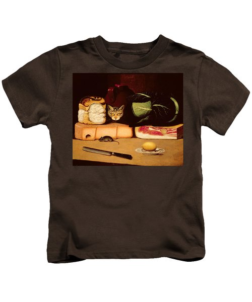 Still Life With Cat And Mouse Kids T-Shirt by Anonymous
