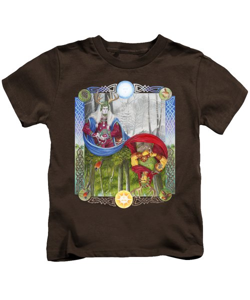 The Holly King And The Oak King Kids T-Shirt by Melissa A Benson