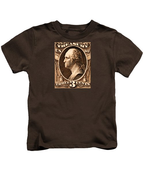 1875 George Washington Treasury Department Stamp Kids T-Shirt by Historic Image