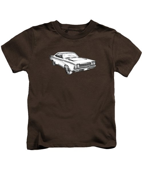1968 Plymouth Roadrunner Muscle Car Illustration Kids T-Shirt by Keith Webber Jr