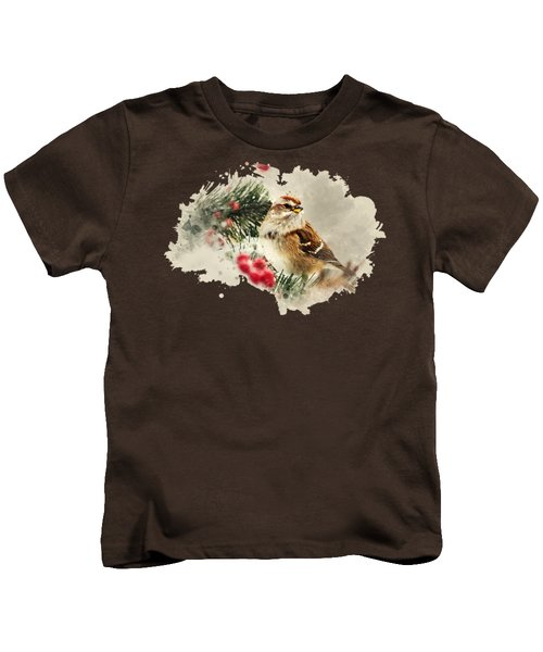 American Tree Sparrow Watercolor Art Kids T-Shirt by Christina Rollo