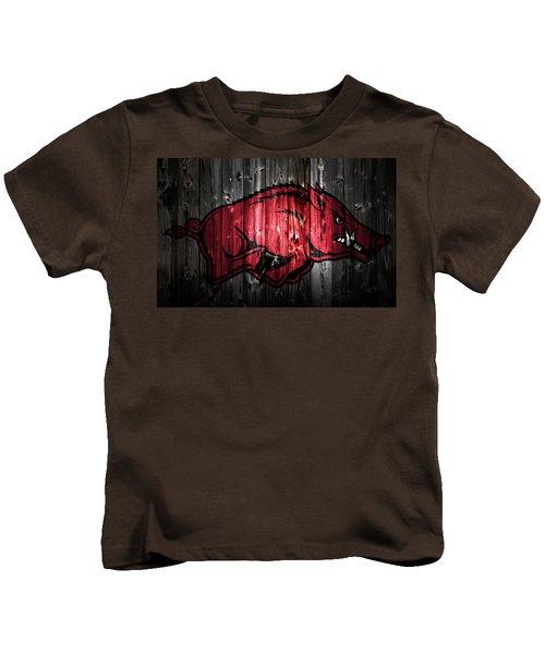 Arkansas Razorbacks 2a Kids T-Shirt by Brian Reaves