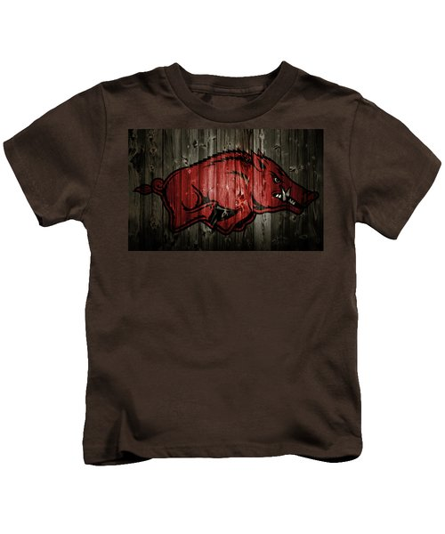 Arkansas Razorbacks 2b Kids T-Shirt by Brian Reaves