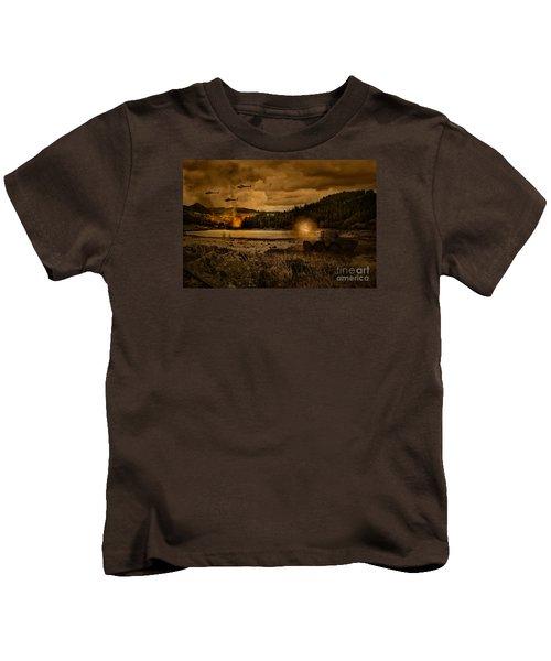 Attack At Nightfall Kids T-Shirt by Amanda Elwell