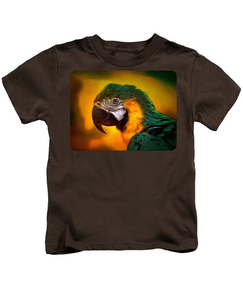 Blue Macaw Parrot Portrait Kids T-Shirt by Linda Koelbel