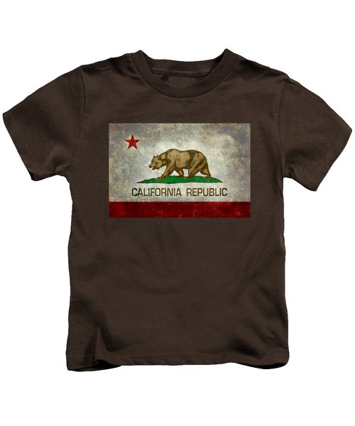 California Republic State Flag Retro Style Kids T-Shirt by Bruce Stanfield