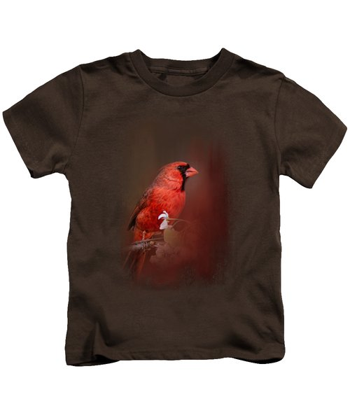 Cardinal In Antique Red Kids T-Shirt by Jai Johnson
