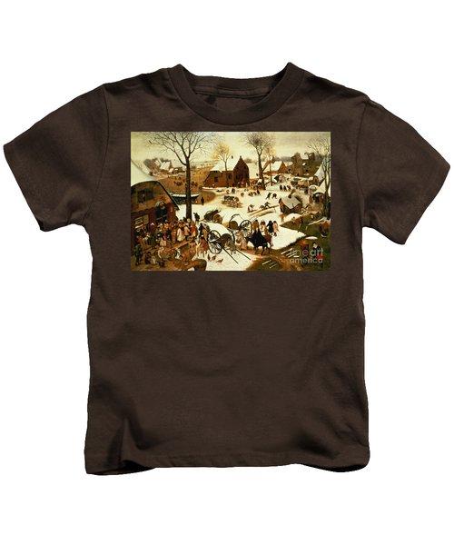 Census At Bethlehem Kids T-Shirt by Pieter the Elder Bruegel