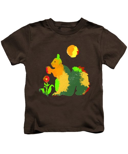 Colorful Squirrel 1 Kids T-Shirt by Holly McGee
