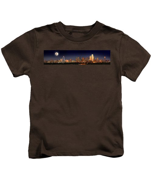 Dallas Skyline At Dusk Big Moon Night  Kids T-Shirt by Jon Holiday