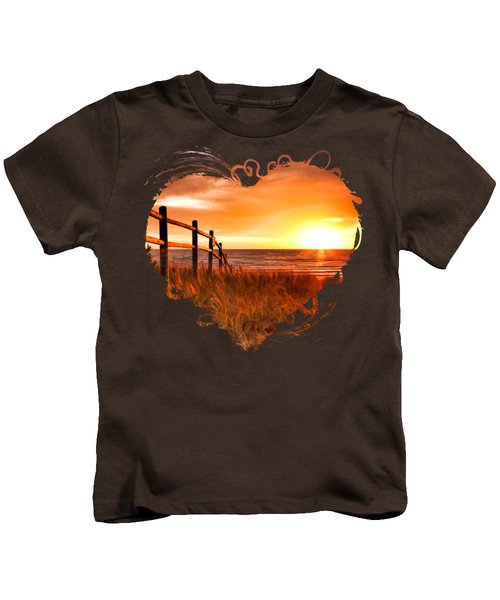 Door County Europe Bay Fence Sunrise Kids T-Shirt by Christopher Arndt