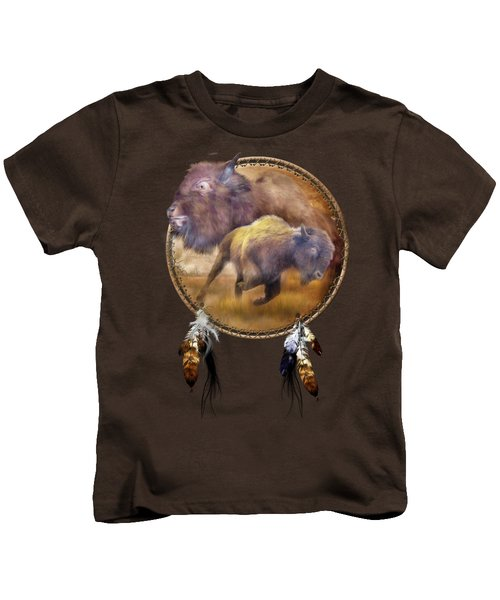 Dream Catcher - Spirit Of The Brown Buffalo Kids T-Shirt by Carol Cavalaris