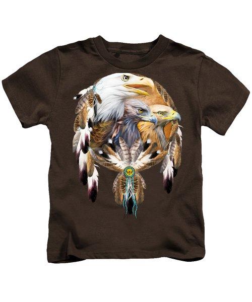 Dream Catcher - Three Eagles Kids T-Shirt by Carol Cavalaris