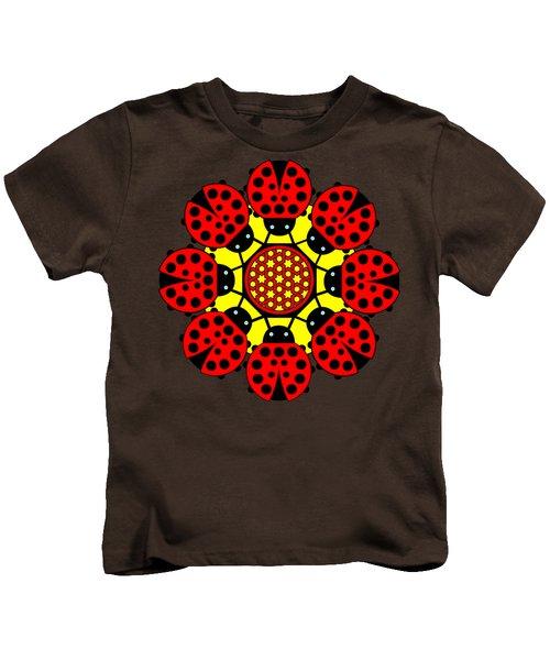 Eight Lucky Ladybirds Kids T-Shirt by John Groves