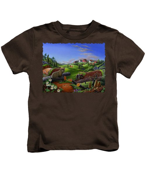 Farm Folk Art - Groundhog Spring Appalachia Landscape - Rural Country Americana - Woodchuck Kids T-Shirt by Walt Curlee